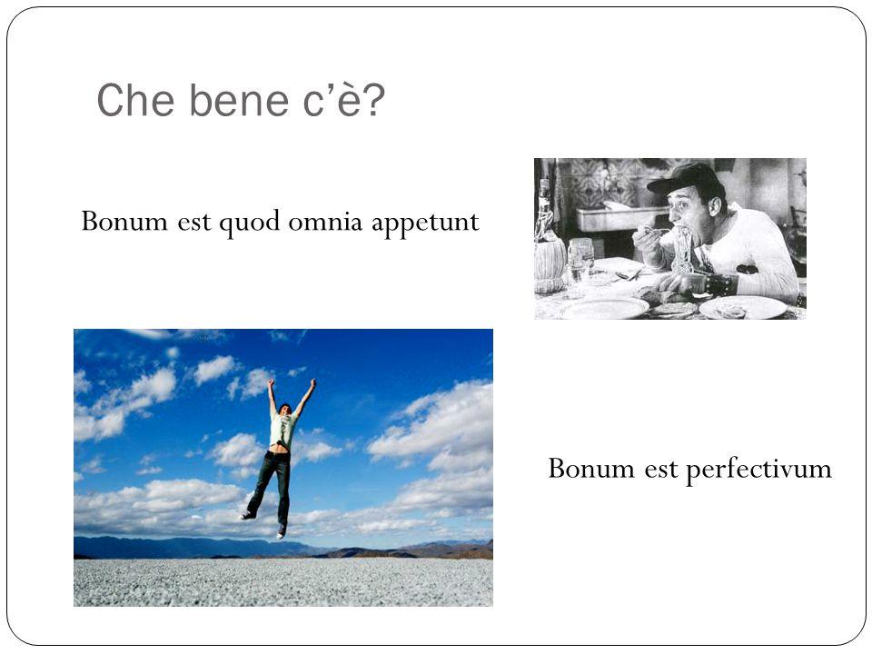 Che bene c'è? Bonum est quod omnia appetunt Bonum est perfectivum