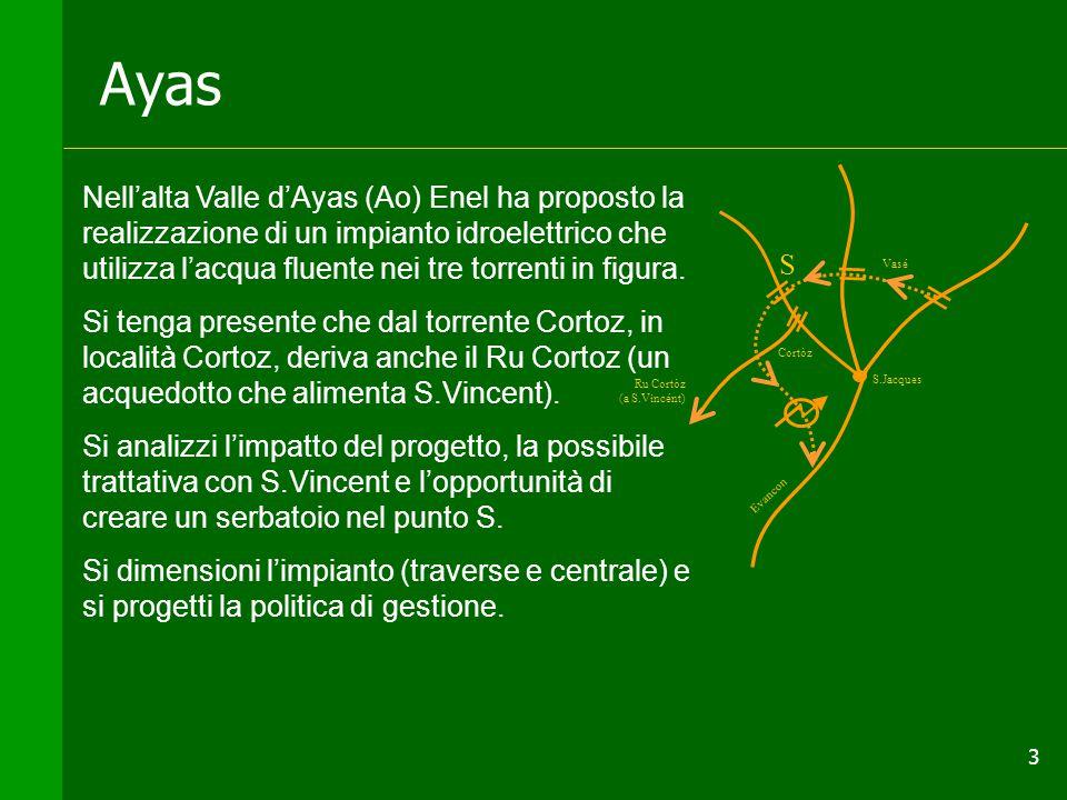 3 Ayas Nell'alta Valle d'Ayas (Ao) Enel ha proposto la realizzazione di un impianto idroelettrico che utilizza l'acqua fluente nei tre torrenti in figura.
