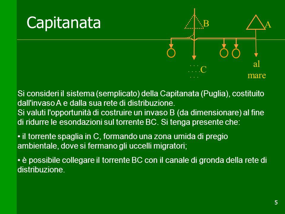 5 Capitanata Si consideri il sistema (semplicato) della Capitanata (Puglia), costituito dall invaso A e dalla sua rete di distribuzione.