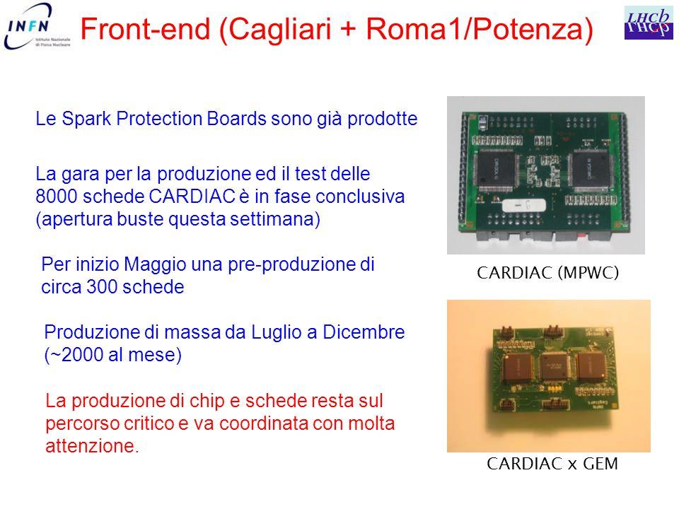 Front-end (Cagliari + Roma1/Potenza) La gara per la produzione ed il test delle 8000 schede CARDIAC è in fase conclusiva (apertura buste questa settimana) Per inizio Maggio una pre-produzione di circa 300 schede Produzione di massa da Luglio a Dicembre (~2000 al mese) Le Spark Protection Boards sono già prodotte CARDIAC (MPWC) CARDIAC x GEM La produzione di chip e schede resta sul percorso critico e va coordinata con molta attenzione.