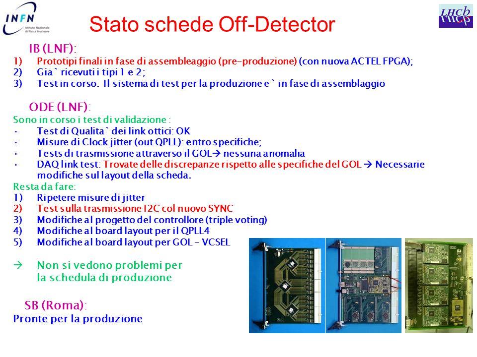 Stato schede Off-Detector IB (LNF): 1)Prototipi finali in fase di assembleaggio (pre-produzione) (con nuova ACTEL FPGA); 2)Gia` ricevuti i tipi 1 e 2; 3)Test in corso.