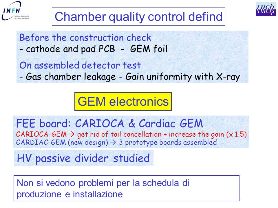 Chamber quality control defind Before the construction check - cathode and pad PCB - GEM foil On assembled detector test - Gas chamber leakage - Gain uniformity with X-ray FEE board: CARIOCA & Cardiac GEM CARIOCA-GEM  get rid of tail cancellation + increase the gain (x 1.5) CARDIAC-GEM (new design)  3 prototype boards assembled HV passive divider studied GEM electronics Non si vedono problemi per la schedula di produzione e installazione