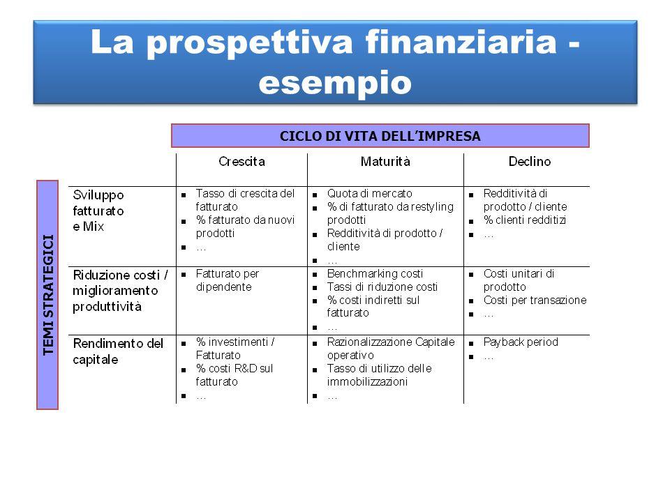 La prospettiva finanziaria - esempio CICLO DI VITA DELL'IMPRESA TEMI STRATEGICI