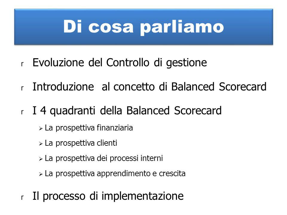 Di cosa parliamo r Evoluzione del Controllo di gestione r Introduzione al concetto di Balanced Scorecard r I 4 quadranti della Balanced Scorecard  La prospettiva finanziaria  La prospettiva clienti  La prospettiva dei processi interni  La prospettiva apprendimento e crescita r Il processo di implementazione