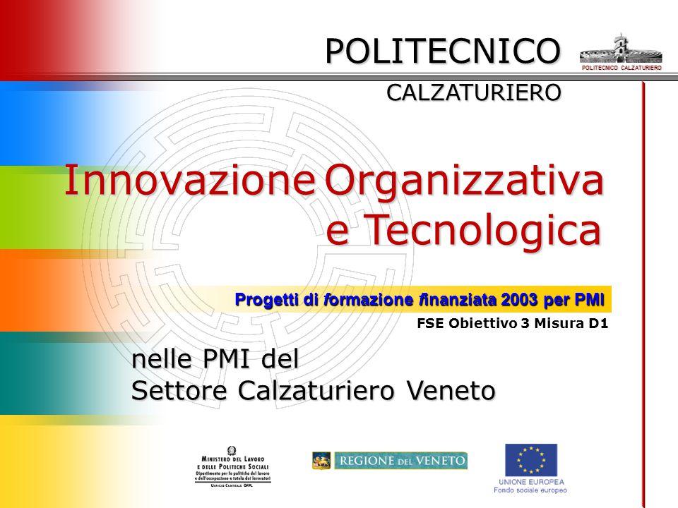 POLITECNICO CALZATURIERO Progetti di formazione finanziata 2003 per PMI POLITECNICO CALZATURIERO Innovazione Organizzativa e Tecnologica nelle PMI del Settore Calzaturiero Veneto FSE Obiettivo 3 Misura D1
