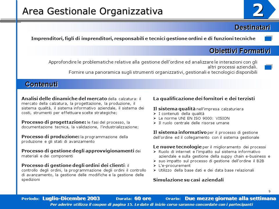 Area Gestionale Organizzativa 2 Obiettivi Formativi Contenuti Contenuti Destinatari Approfondire le problematiche relative alla gestione dell'ordine ed analizzare le interazioni con gli altri processi aziendali.