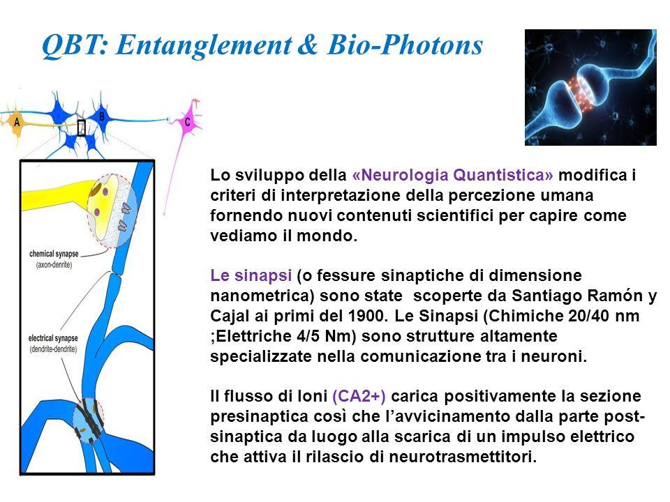  Gli elettroni ed altre particelle quantistiche ( biofotoni ) che si formano nella scintilla (spark) sinaptico, trovandosi in estreme modalita di pressione in uno spazio sinaptico ridotto a pochi nanometri, sovrappongono (entanglement) le loro funzioni di onda.