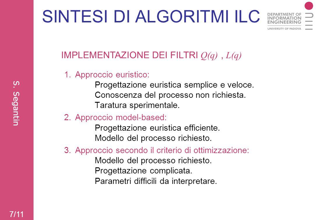 SINTESI DI ALGORITMI ILC 1.Approccio euristico: Progettazione euristica semplice e veloce. Conoscenza del processo non richiesta. Taratura sperimental