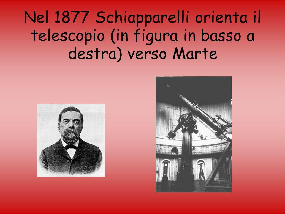Nel 1877 Schiapparelli orienta il telescopio (in figura in basso a destra) verso Marte