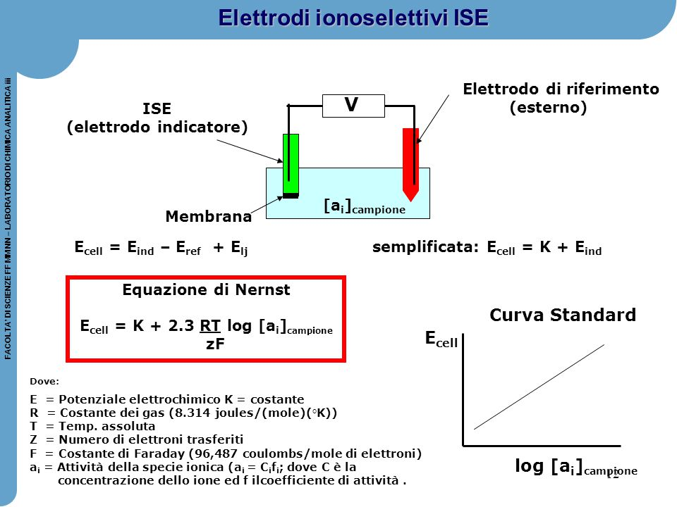 12 FACOLTA' DI SCIENZE FF MM NN – LABORATORIO DI CHIMICA ANALITICA iii E cell = E ind – E ref + E lj semplificata: E cell = K + E ind ISE (elettrodo i