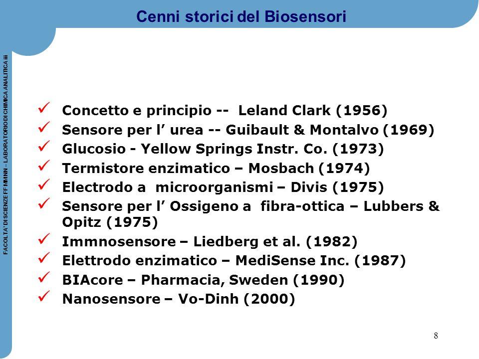 8 FACOLTA' DI SCIENZE FF MM NN – LABORATORIO DI CHIMICA ANALITICA iii Cenni storici del Biosensori Concetto e principio -- Leland Clark (1956) Sensore