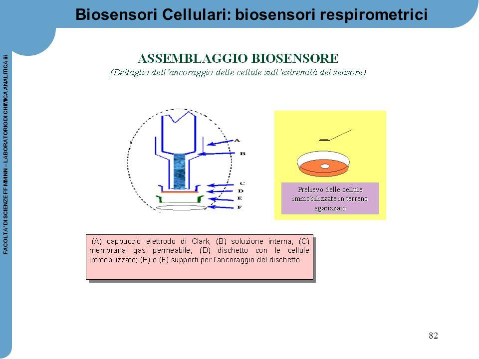 82 FACOLTA' DI SCIENZE FF MM NN – LABORATORIO DI CHIMICA ANALITICA iii Biosensori Cellulari: biosensori respirometrici