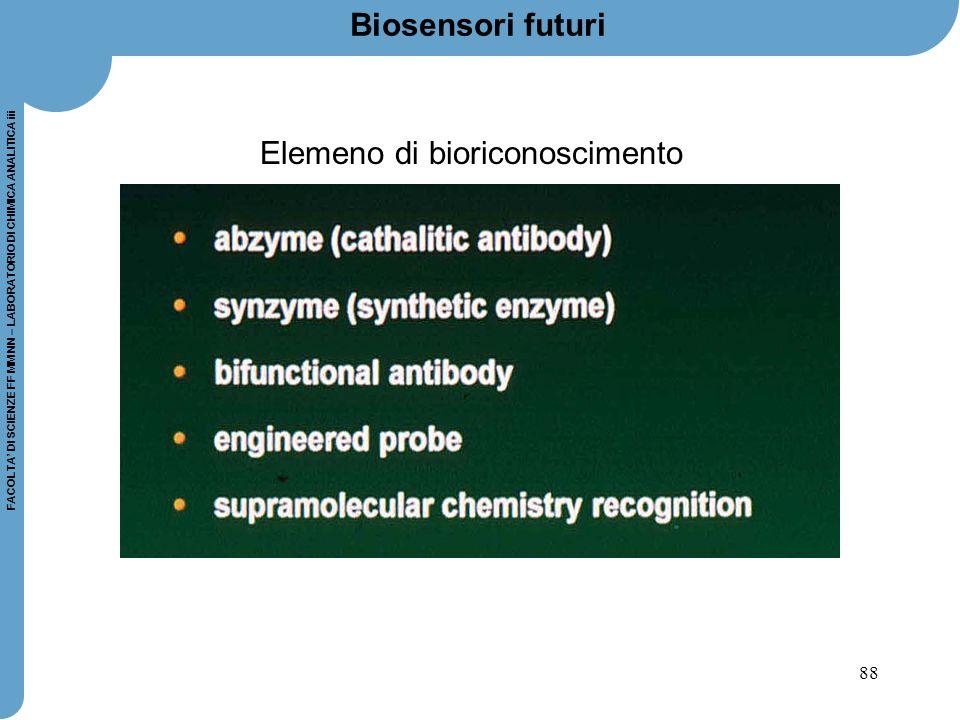 88 FACOLTA' DI SCIENZE FF MM NN – LABORATORIO DI CHIMICA ANALITICA iii Biosensori futuri Elemeno di bioriconoscimento