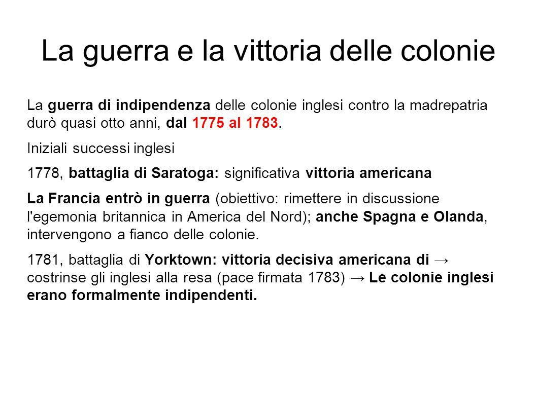 La guerra e la vittoria delle colonie La guerra di indipendenza delle colonie inglesi contro la madrepatria durò quasi otto anni, dal 1775 al 1783. In
