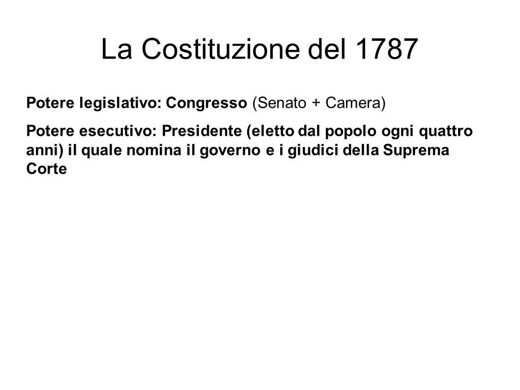 La Costituzione del 1787 Potere legislativo: Congresso (Senato + Camera) Potere esecutivo: Presidente (eletto dal popolo ogni quattro anni) il quale nomina il governo e i giudici della Suprema Corte
