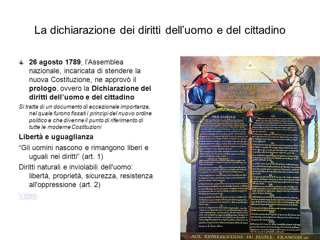 La dichiarazione dei diritti dell'uomo e del cittadino 26 agosto 1789, l'Assemblea nazionale, incaricata di stendere la nuova Costituzione, ne approvò il prologo, ovvero la Dichiarazione dei diritti dell'uomo e del cittadino Si tratta di un documento di eccezionale importanza, nel quale furono fissati i principi del nuovo ordine politico e che divenne il punto di riferimento di tutte le moderne Costituzioni Libertà e uguaglianza Gli uomini nascono e rimangono liberi e uguali nei diritti (art.