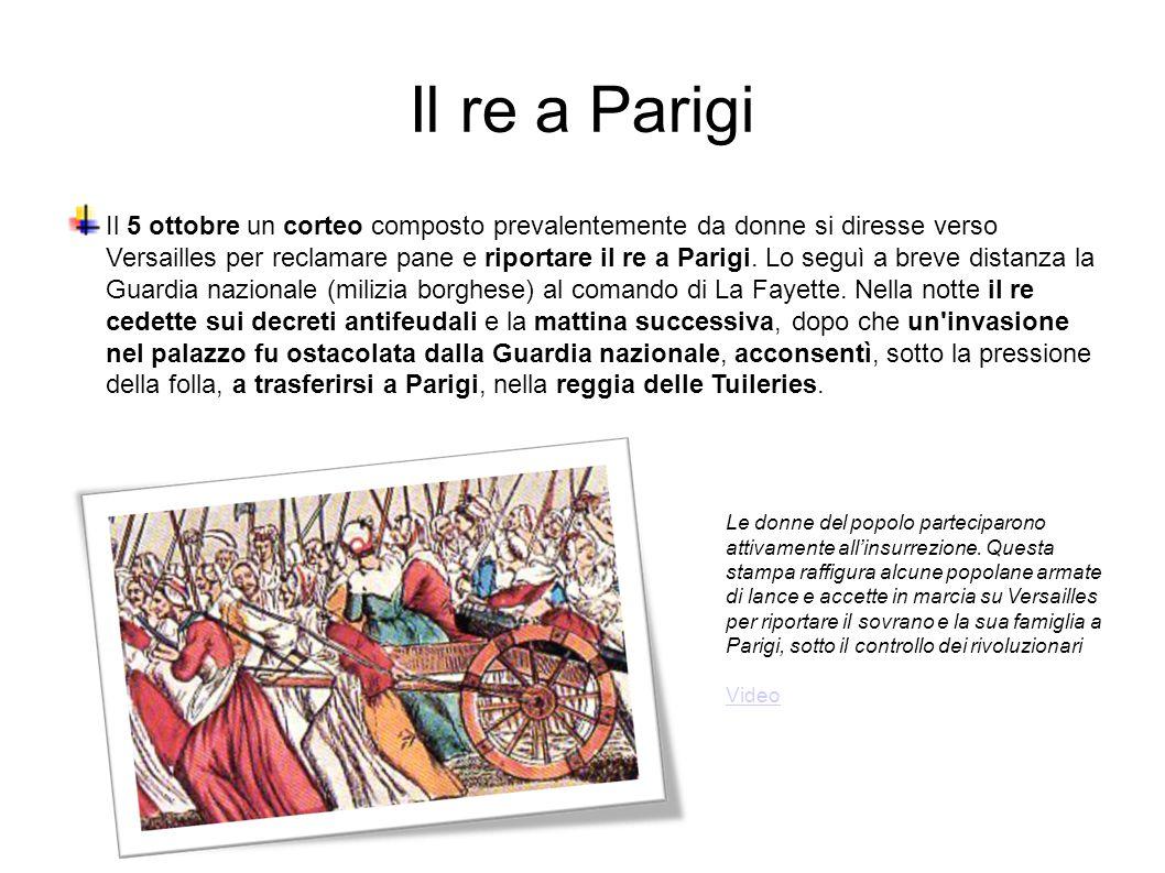 Il re a Parigi Il 5 ottobre un corteo composto prevalentemente da donne si diresse verso Versailles per reclamare pane e riportare il re a Parigi.