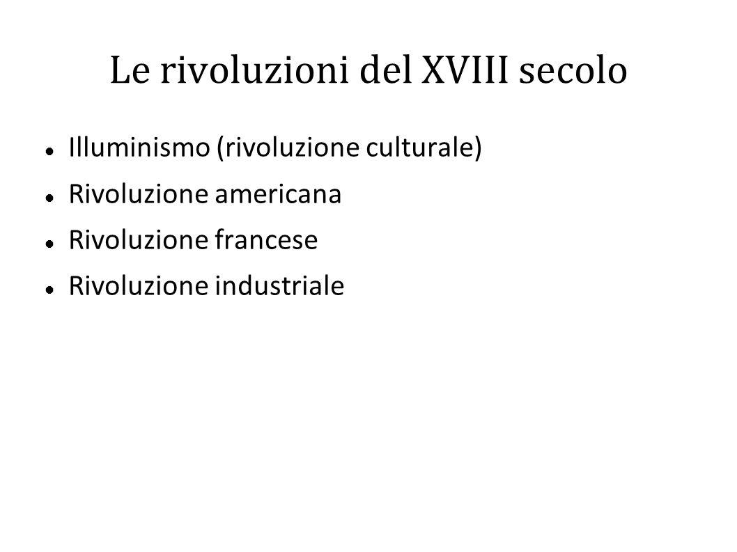 Le rivoluzioni del XVIII secolo Illuminismo (rivoluzione culturale) Rivoluzione americana Rivoluzione francese Rivoluzione industriale