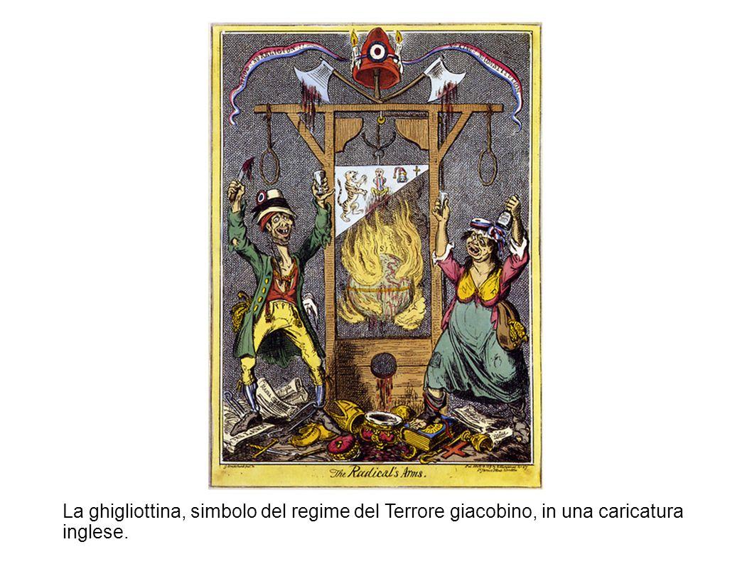 La ghigliottina, simbolo del regime del Terrore giacobino, in una caricatura inglese.