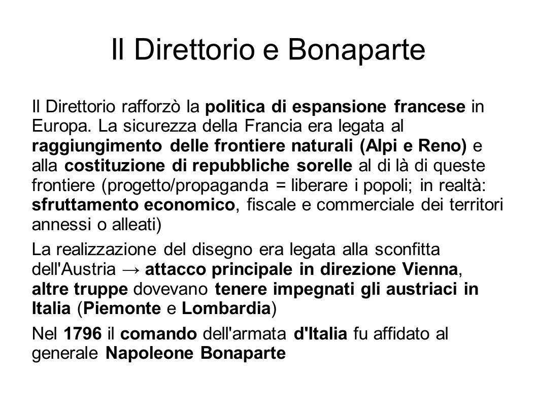 Il Direttorio e Bonaparte Il Direttorio rafforzò la politica di espansione francese in Europa. La sicurezza della Francia era legata al raggiungimento