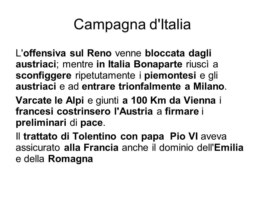 Campagna d Italia L offensiva sul Reno venne bloccata dagli austriaci; mentre in Italia Bonaparte riuscì a sconfiggere ripetutamente i piemontesi e gli austriaci e ad entrare trionfalmente a Milano.