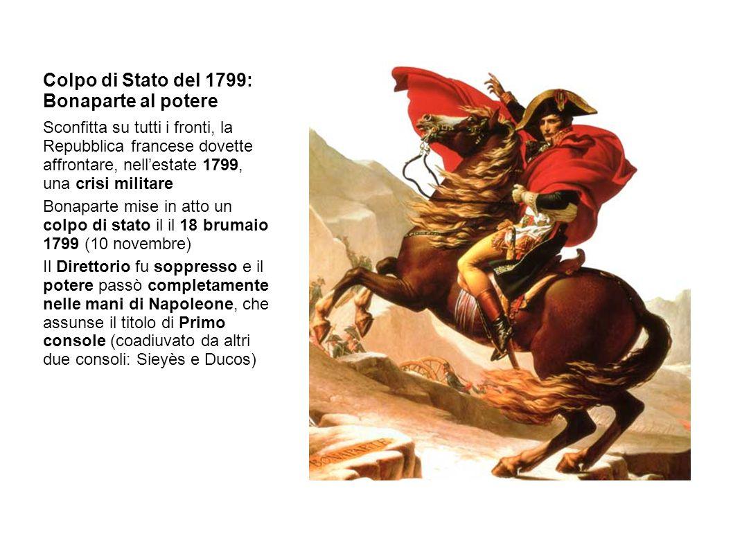Colpo di Stato del 1799: Bonaparte al potere Sconfitta su tutti i fronti, la Repubblica francese dovette affrontare, nell'estate 1799, una crisi milit