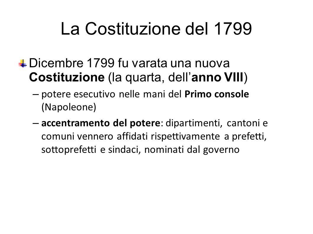La Costituzione del 1799 Dicembre 1799 fu varata una nuova Costituzione (la quarta, dell'anno VIII) – potere esecutivo nelle mani del Primo console (Napoleone) – accentramento del potere: dipartimenti, cantoni e comuni vennero affidati rispettivamente a prefetti, sottoprefetti e sindaci, nominati dal governo