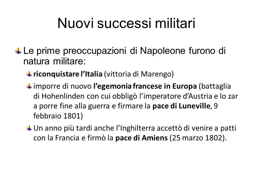 Nuovi successi militari Le prime preoccupazioni di Napoleone furono di natura militare: riconquistare l'Italia (vittoria di Marengo) imporre di nuovo l'egemonia francese in Europa (battaglia di Hohenlinden con cui obbligò l'imperatore d'Austria e lo zar a porre fine alla guerra e firmare la pace di Luneville, 9 febbraio 1801) Un anno più tardi anche l'Inghilterra accettò di venire a patti con la Francia e firmò la pace di Amiens (25 marzo 1802).