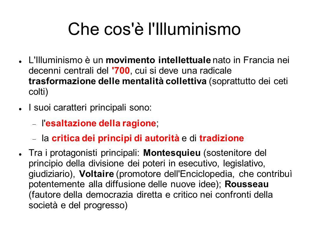 Che cos'è l'Illuminismo L'Illuminismo è un movimento intellettuale nato in Francia nei decenni centrali del '700, cui si deve una radicale trasformazi