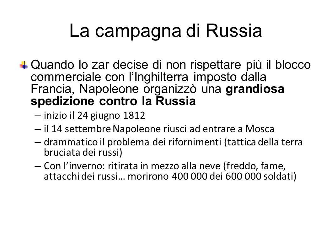La campagna di Russia Quando lo zar decise di non rispettare più il blocco commerciale con l'Inghilterra imposto dalla Francia, Napoleone organizzò un