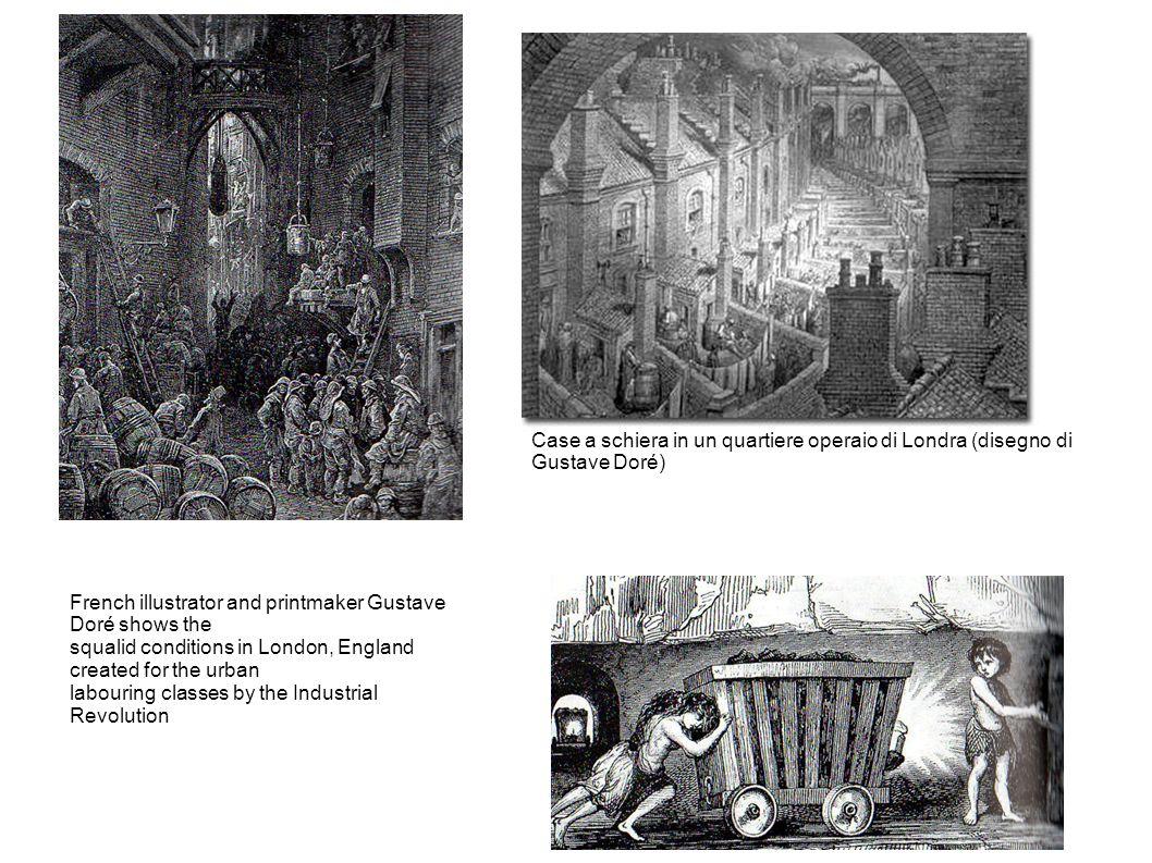 French illustrator and printmaker Gustave Doré shows the squalid conditions in London, England created for the urban labouring classes by the Industrial Revolution Case a schiera in un quartiere operaio di Londra (disegno di Gustave Doré)