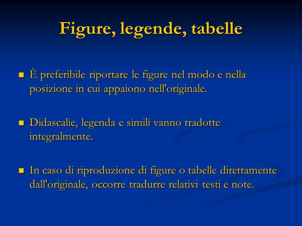 Figure, legende, tabelle È preferibile riportare le figure nel modo e nella posizione in cui appaiono nell originale.