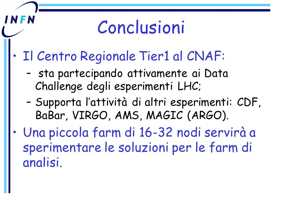 Conclusioni Il Centro Regionale Tier1 al CNAF: – sta partecipando attivamente ai Data Challenge degli esperimenti LHC; –Supporta l'attività di altri esperimenti: CDF, BaBar, VIRGO, AMS, MAGIC (ARGO).