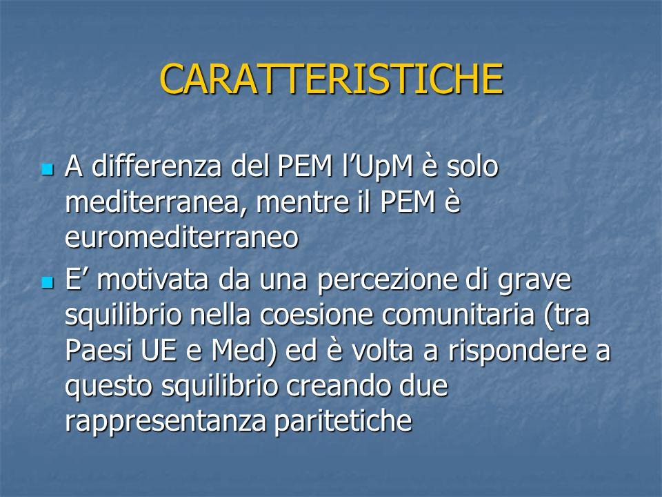 CARATTERISTICHE A differenza del PEM l'UpM è solo mediterranea, mentre il PEM è euromediterraneo A differenza del PEM l'UpM è solo mediterranea, mentr