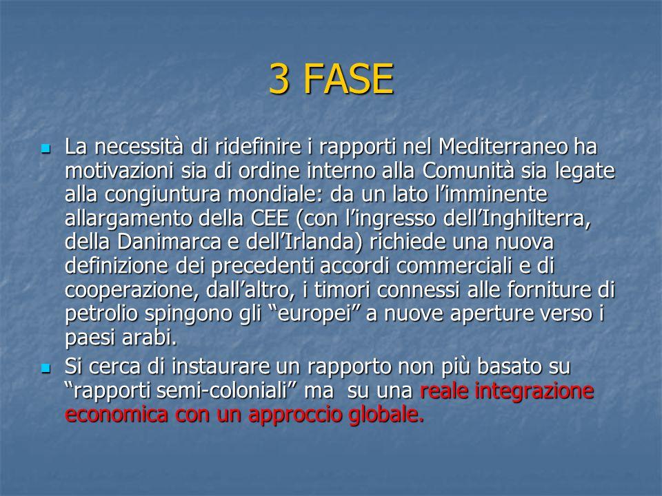 3 FASE La necessità di ridefinire i rapporti nel Mediterraneo ha motivazioni sia di ordine interno alla Comunità sia legate alla congiuntura mondiale: da un lato l'imminente allargamento della CEE (con l'ingresso dell'Inghilterra, della Danimarca e dell'Irlanda) richiede una nuova definizione dei precedenti accordi commerciali e di cooperazione, dall'altro, i timori connessi alle forniture di petrolio spingono gli europei a nuove aperture verso i paesi arabi.