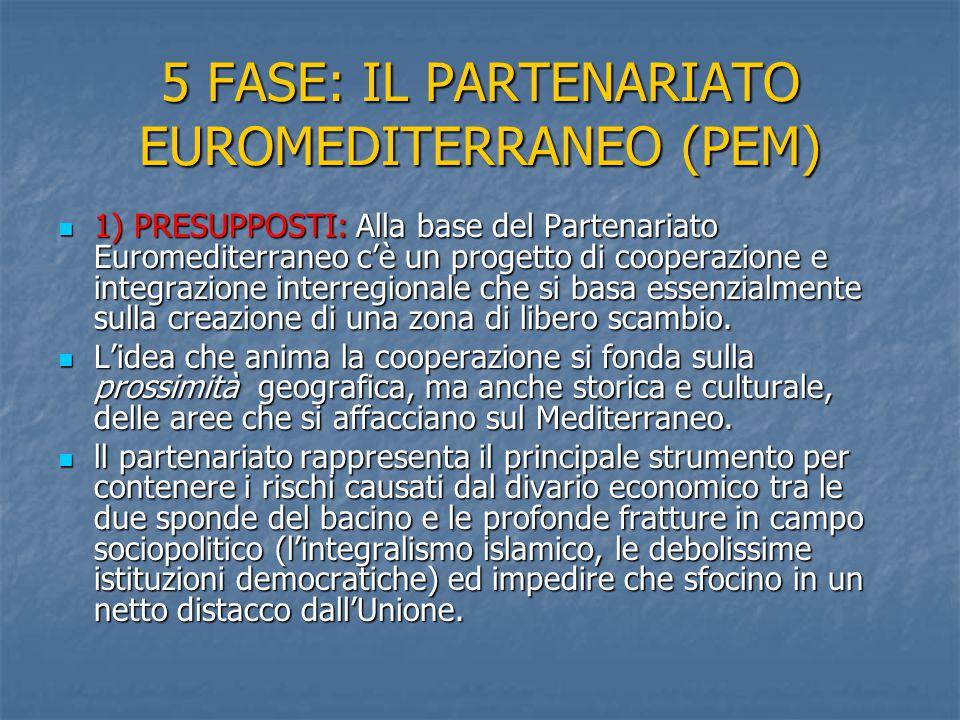 5 FASE: IL PARTENARIATO EUROMEDITERRANEO (PEM) 1) PRESUPPOSTI: Alla base del Partenariato Euromediterraneo c'è un progetto di cooperazione e integrazi