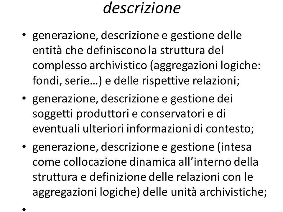 descrizione generazione, descrizione e gestione delle entità che definiscono la struttura del complesso archivistico (aggregazioni logiche: fondi, ser