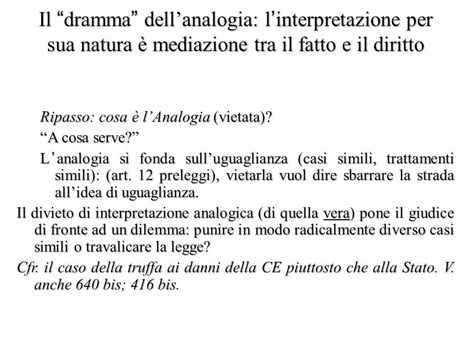 Il dramma dell'analogia: l'interpretazione per sua natura è mediazione tra il fatto e il diritto Ripasso: cosa è l'Analogia (vietata).