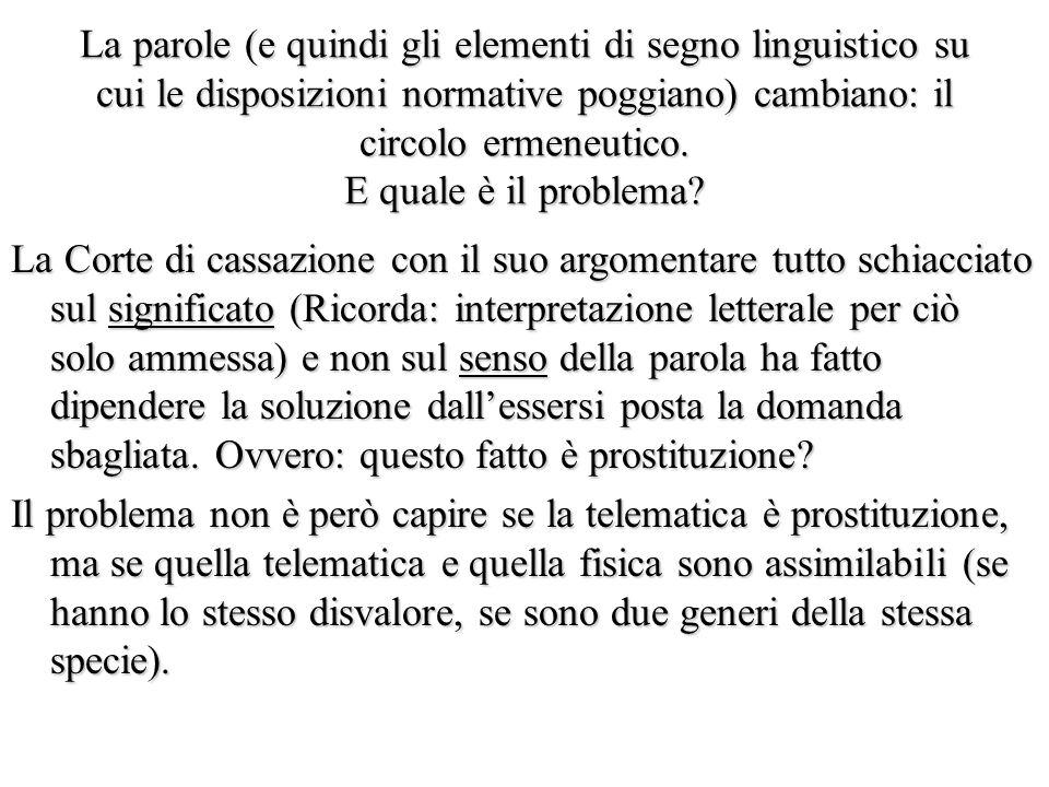 La parole (e quindi gli elementi di segno linguistico su cui le disposizioni normative poggiano) cambiano: il circolo ermeneutico.