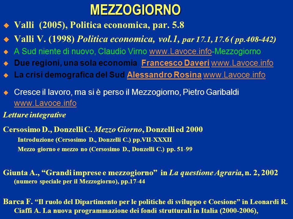 MEZZOGIORNO  Valli (2005), Politica economica, par. 5.8  Valli V. (1998) Politica economica, vol.1, par 17.1, 17.6 ( pp.408-442)  A Sud niente di n