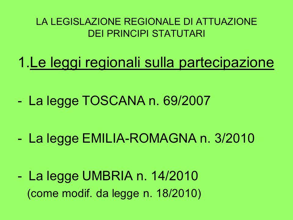 LA LEGISLAZIONE REGIONALE DI ATTUAZIONE DEI PRINCIPI STATUTARI 1.Le leggi regionali sulla partecipazione -La legge TOSCANA n.