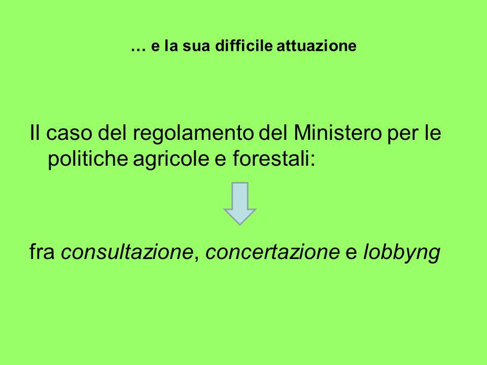 … e la sua difficile attuazione Il caso del regolamento del Ministero per le politiche agricole e forestali: fra consultazione, concertazione e lobbyng