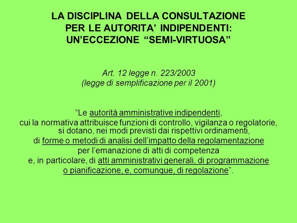 LA DISCIPLINA DELLA CONSULTAZIONE PER LE AUTORITA' INDIPENDENTI: UN'ECCEZIONE SEMI-VIRTUOSA Art.