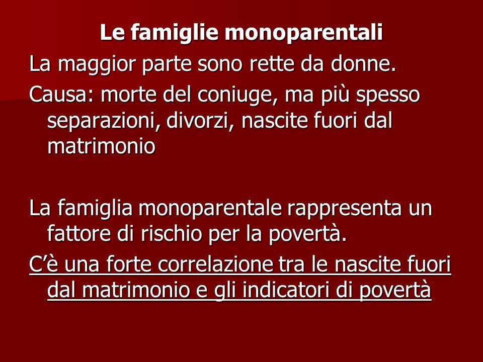 Le famiglie monoparentali La maggior parte sono rette da donne.
