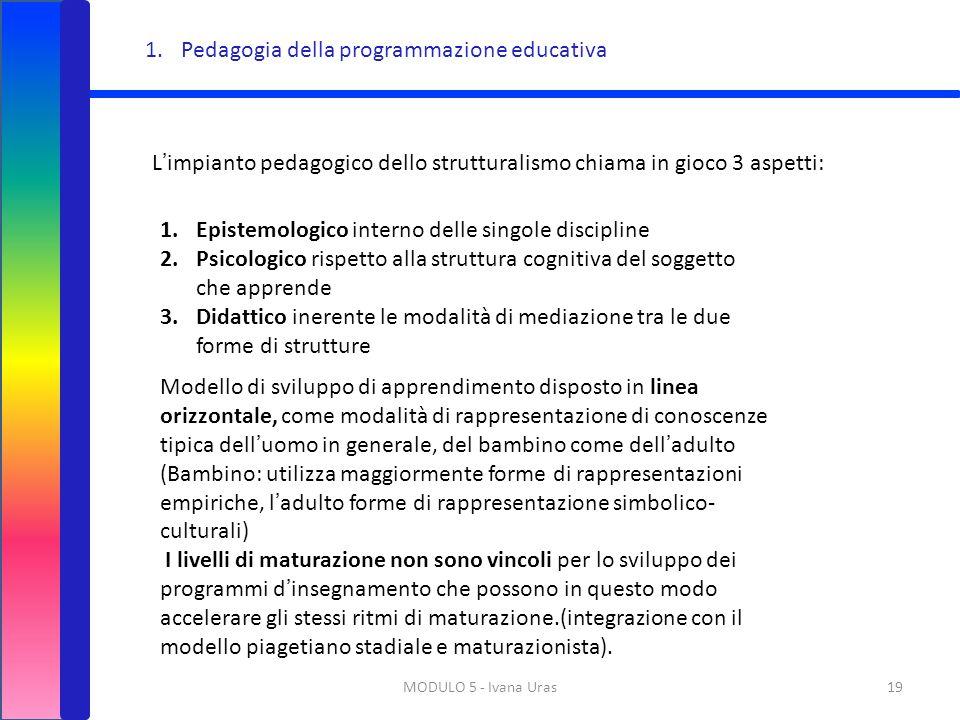 MODULO 5 - Ivana Uras19 L'impianto pedagogico dello strutturalismo chiama in gioco 3 aspetti: 1.Epistemologico interno delle singole discipline 2.Psic