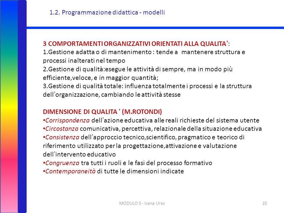 MODULO 5 - Ivana Uras25 3 COMPORTAMENTI ORGANIZZATIVI ORIENTATI ALLA QUALITA': 1.Gestione adatta o di mantenimento : tende a mantenere struttura e pro