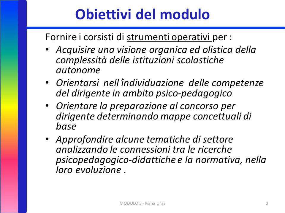 Obiettivi del modulo Fornire i corsisti di strumenti operativi per : Acquisire una visione organica ed olistica della complessità delle istituzioni sc
