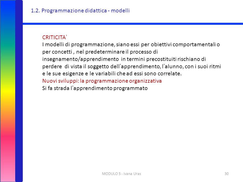 MODULO 5 - Ivana Uras30 CRITICITA' I modelli di programmazione, siano essi per obiettivi comportamentali o per concetti, nel predeterminare il process