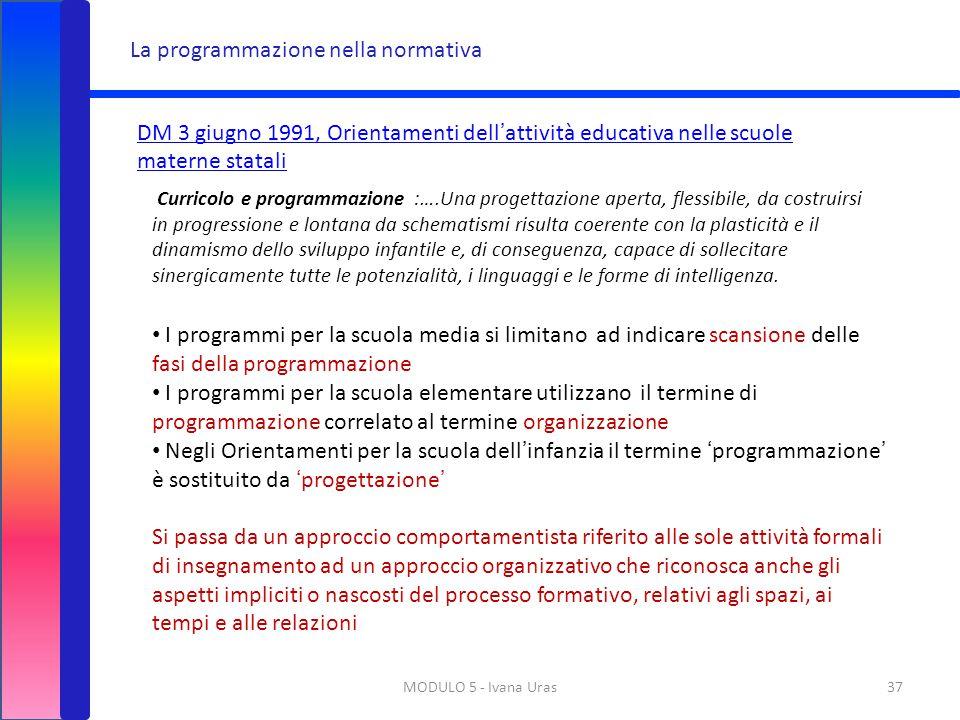 MODULO 5 - Ivana Uras37 La programmazione nella normativa DM 3 giugno 1991, Orientamenti dell'attività educativa nelle scuole materne statali Curricol