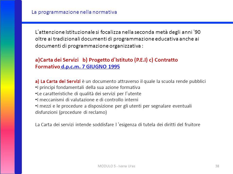 MODULO 5 - Ivana Uras38 La programmazione nella normativa L'attenzione Istituzionale si focalizza nella seconda metà degli anni '90 oltre ai tradizion